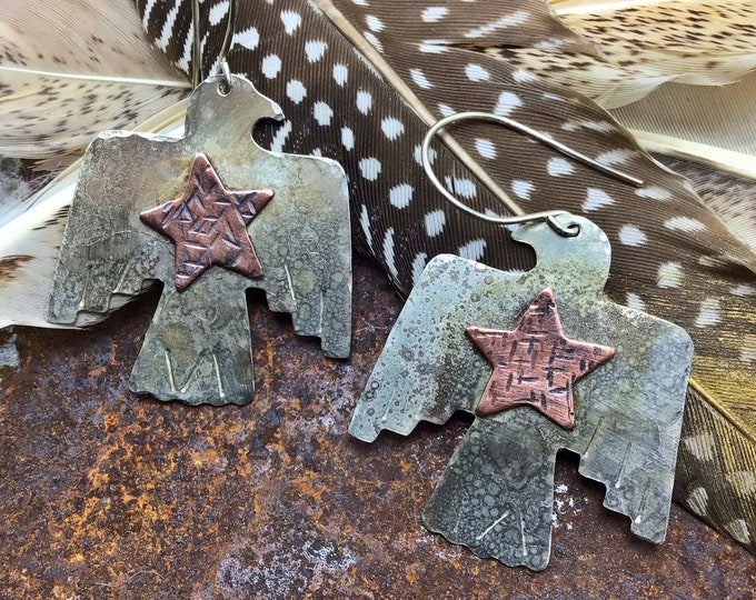 Thunderbird and leather earrings by Weathered soul.western couture, rustic chic,cowgirl fashion,Native American style,artisan jewelry