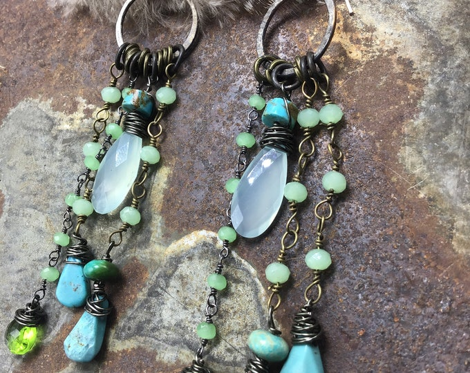 Boho Sally dangling earrings from Weathered Soul with gemstones galore, cowgirl inspired