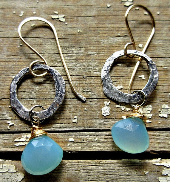 Chalcedony silver and bronze rustic hoop earrings by Weathered Soul Jewelry, urban, Sundance style, cowgirl, boho, gypsy, artisan, USA