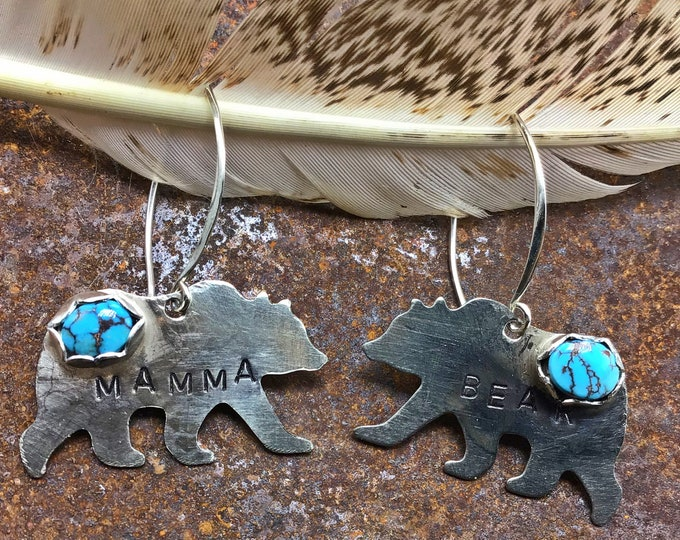 Mamma bear silver and turquoise earrings by Weathered Soul, she walks with movement and a little up hill due to weight