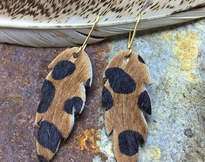"""Leopard hair on hide feather earrings with bronze ear wires approximately 1.5"""" long, cowgirl fashion,western fashion, eclectic chic"""