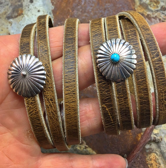 Sweet little leather wrap bracelets by Weathered Soul with sterling slides you choose turquoise or plain, artisan leather,urban cowgirl
