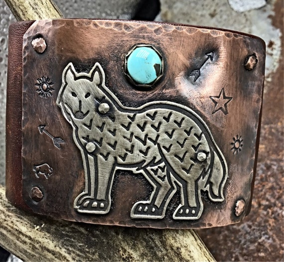 Lone Standing Wolf Leather Artisan Cuff bracelet by Weathered Soul, made to order with the touch of sleeping beauty turquoise, artisan