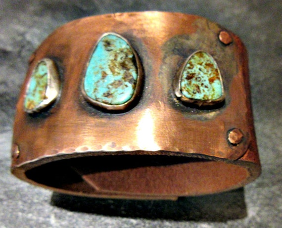 Made To Order  Three's a crowd leather, turquoise, and copper distressed wide cuff, 2 heavy bronze snaps, artisan cuff, cowgirl, USA ,order