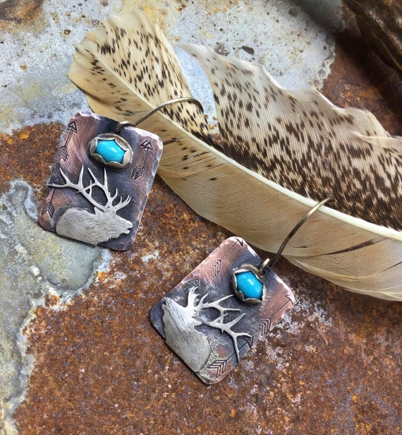 Bugling Bull elk earrings by Weathered Soul jewelry, nature inspired, Hunter,touches of turquoise bezel set beauties,artisan