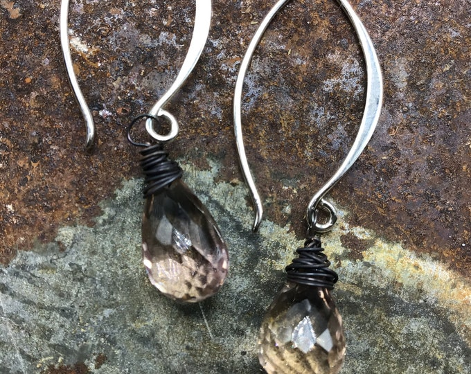 Beautiful faceted tourmaline teardrop minimalist danglers by Weathered soul,daint, sparkly,simplistic style