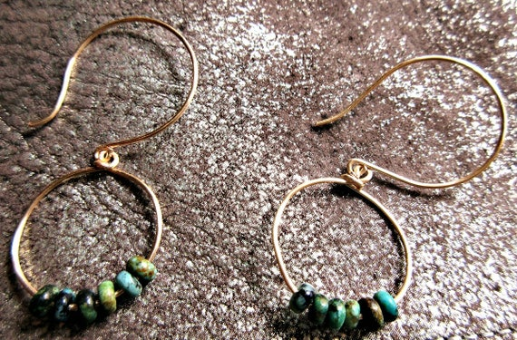 Simple bronze turquoise beaded hoops with large bronze ear wires, urban, cowgirl, minimalist, high fashion, dainty, classy, lightweight, USA