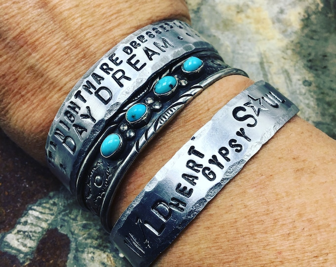 Wild heart gypsy soul cuff by Weathered soul, lightweight fun layering style this listing is for one stamped cuff only