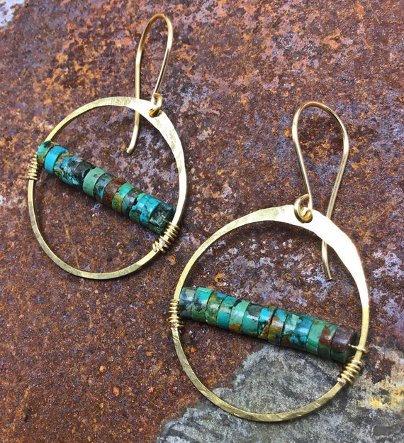 Simplistic bronze hoops with turquoise wire wrapped inside,Sundance style,medium hoops,hammered,artisan,urban chic,minimalist