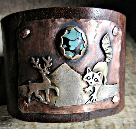 Made to order Into the Wild Distressed Wide Leather Cuff bracelet by Weathered Soul Jewelry, artisan made, rustic, Deer, Antlers, OOAK, USA
