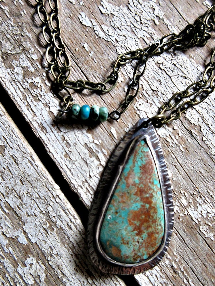 Don\'t cry over me necklace by Weathered Soul, teardrop turquoise ...