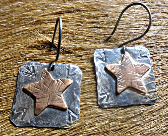Stars and stripes earrings by Weathered Soul, rustic copper stars on sterling, cowgirl, artisan, western, cowgirl, USA made, star earrings