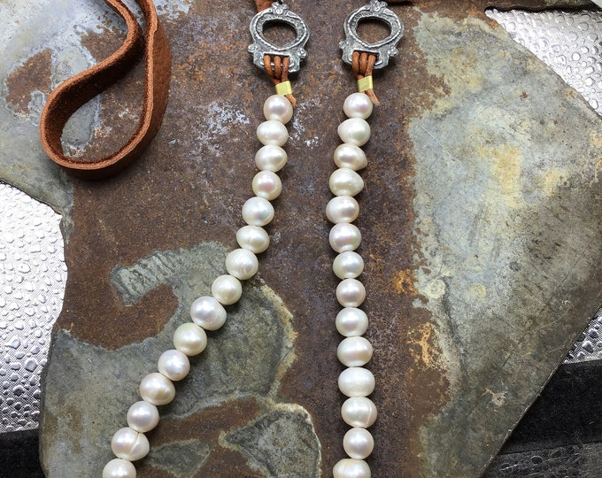 Sweet and simple classic style long pearl and leather necklace, great layering piece, fun Victorian pewter connectors, cowgirl up
