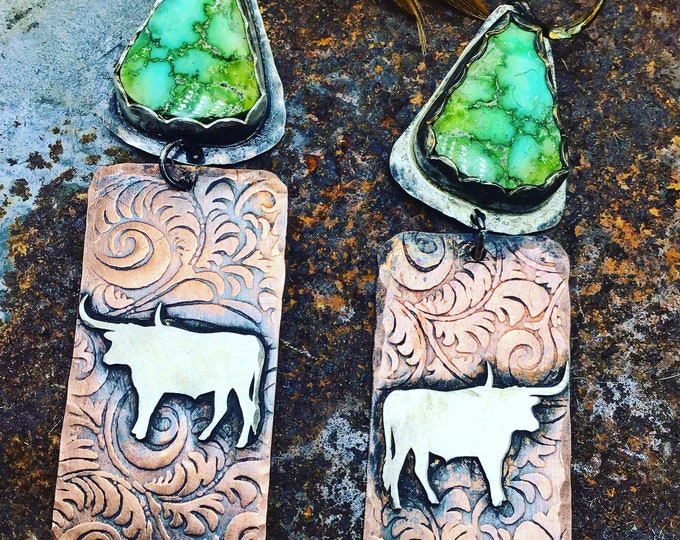 Longhorn love earrings by Weathered Soul made to order so turquoise will vary, western style,cowgirl style,artisan jewelry,weathered soul