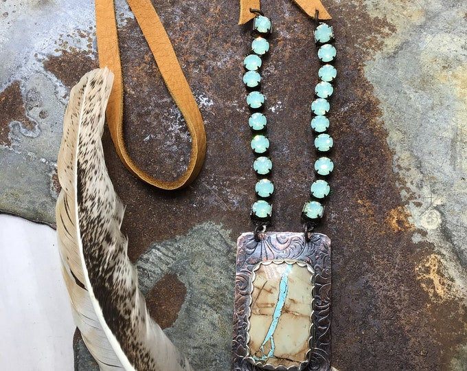 Huge Royston ribbon turquoise and rhinestone necklace with tooled leather looking copper and soft palomino leather,OOAK piece exclusive