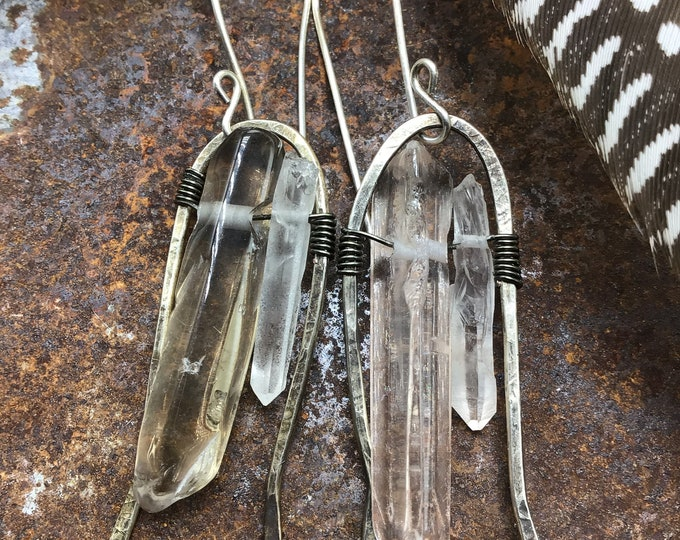 Large Crystal Arches by Weathered Soul Jewelry, raw quartz, urban chic, crystals, rustic, gypsy, high fashion, artisan, USA made, silver