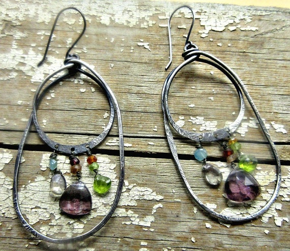 Made to order Double hoops and gems galore earrings by Weathered Soul TM, amethyst, quartz, sunstone, garnet, peridot and more, USA artisan