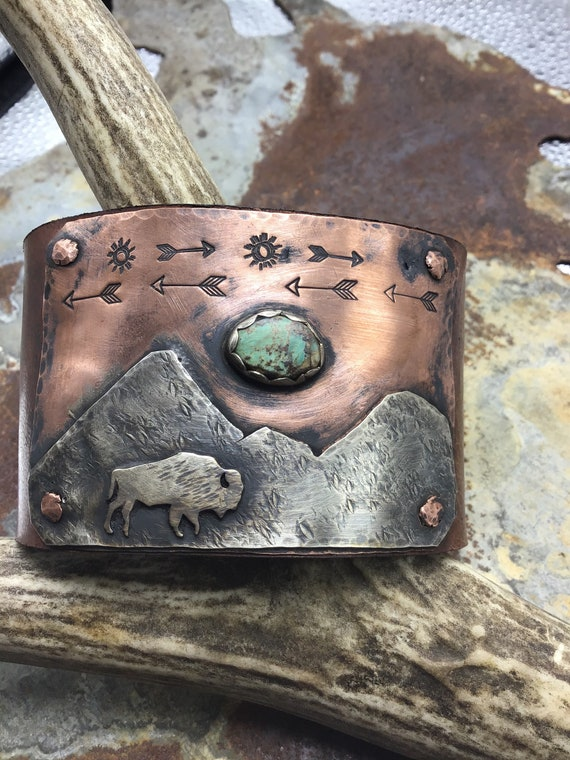Made to order Buffalo Roam Cuff by Weathered Soul Jewelry, turquoise, arrows, bison, buffalo, vintage leather or recycled leather, USA art
