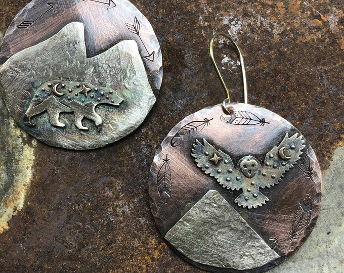 Walking bear and flying owl earrings by Weathered Soul rustic mountains, artisan nature lover earrings