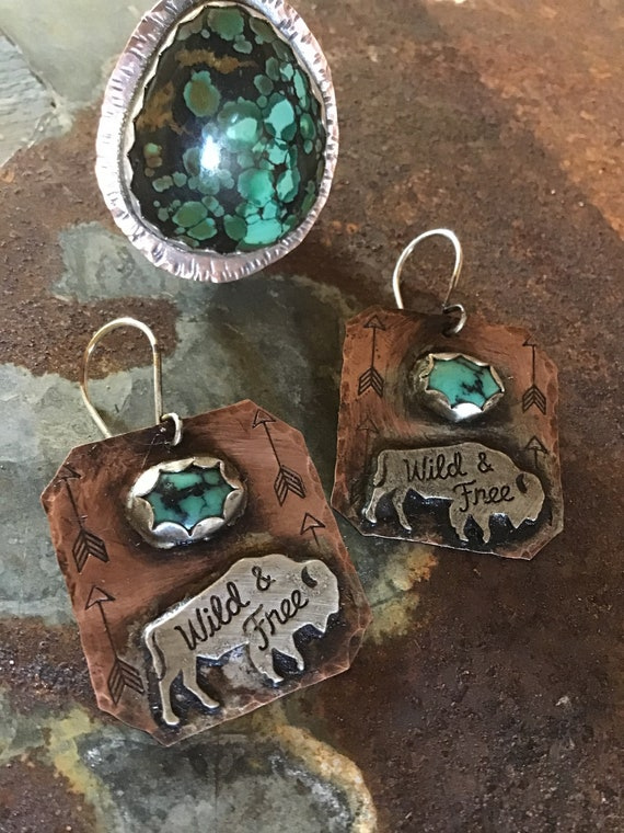 Wild and free buffalo earrings by Weathered Soul,artisan jewelry,made to order all turquoise stones vary,cowgirl,bison lover,USA made