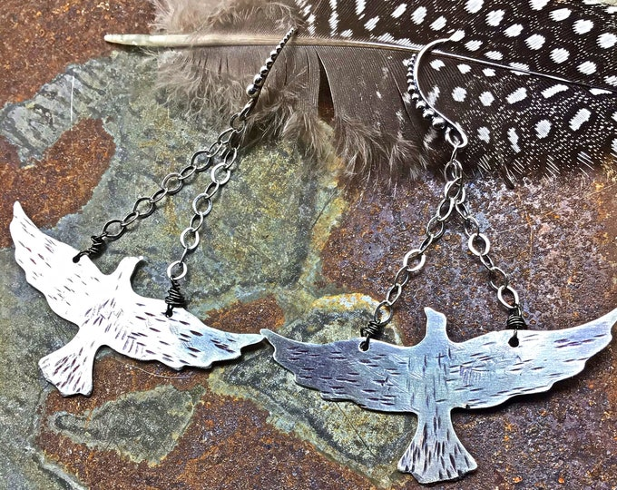 In flight sterling and nickel silver flying bird earrings by Weathered soul, nature inspired