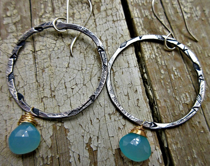 Rustic hammered large circle hoops with embossed arrows and chalcedony bronze wire wrapped stones by Weathered Soul TM, artisan, USA,urban