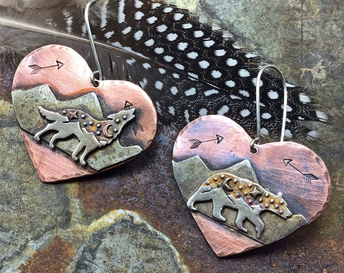 Walking Bear,Howling Wolf earrings by Weathered Soul, large rustic  copper and sterling, wildlife lover, nature inspired