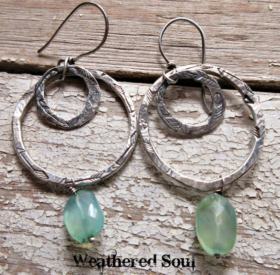 Double hoops, one with feathers, one arrows by Weathered Soul Jewelry, cowgirl, urban, rustic, chalcedony, artisan made in the USA, quality