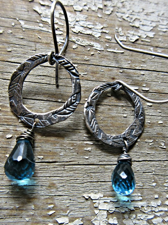 Dainty blue topaz feather embossed rustic silver small hoop earrings by Weathered Soul Jewelry, urban, Christmas gift idea, anniversary, USA