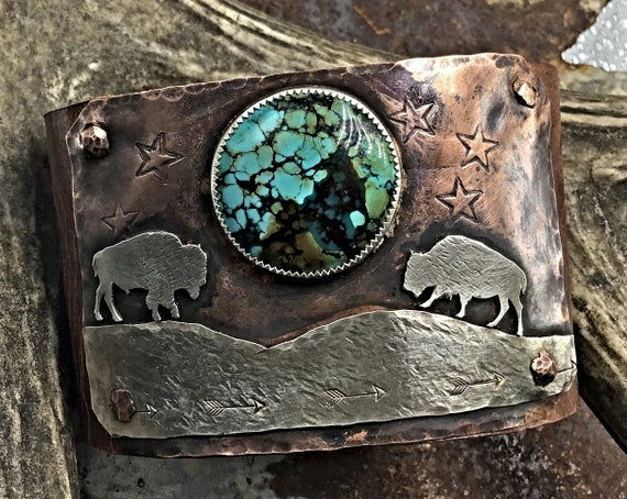 Moonlight Rendezvous Buffalo meeting under the turquoise matrix moon artisan cuff bracelet by Weathered Soul Jewelry, Bison, cowgirl, OOAK