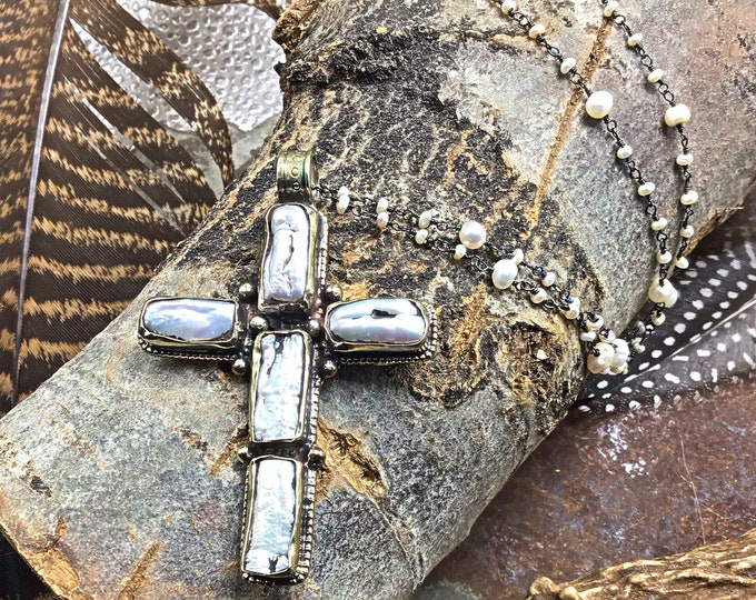The ole rugged cross long pearl necklace, statement large pendant with dainty wire wrapped pearl rosary style chain, cowgirl chic