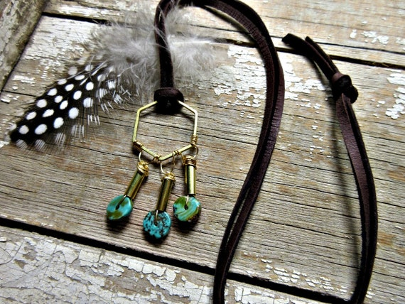 Hexagon bronze with wire wrapped turquoise on leather necklace by Weathered Soul Jewelry, light weight, long, over the head styling,USA made