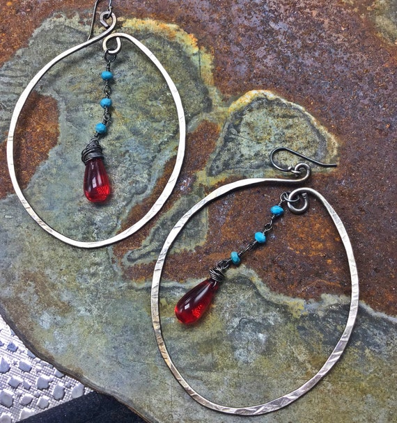 Very large hammered hoops with turquoise rosary and red blown glass teardrop wire wrapped stone dangling in mid air,USA crafted