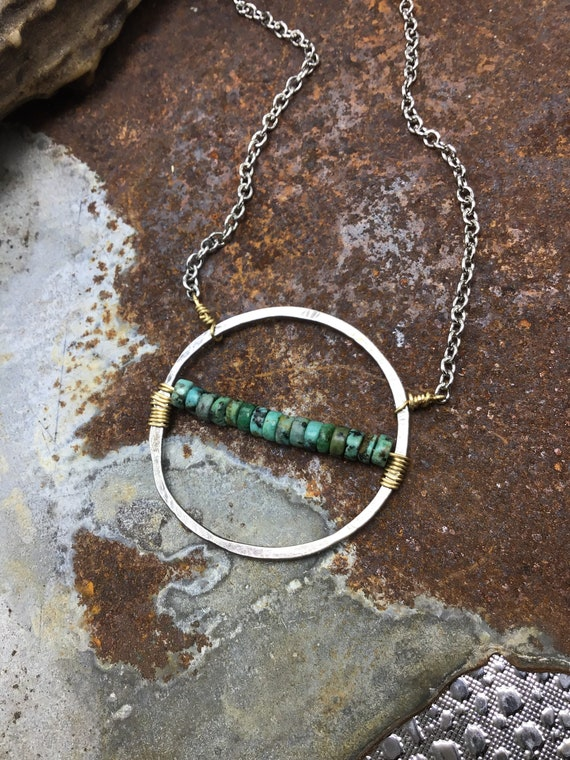 Love infinity necklace by Weathered Soul jewelry, artisan sterling hammered medium, large circle with real turquoise wire wrapped in center