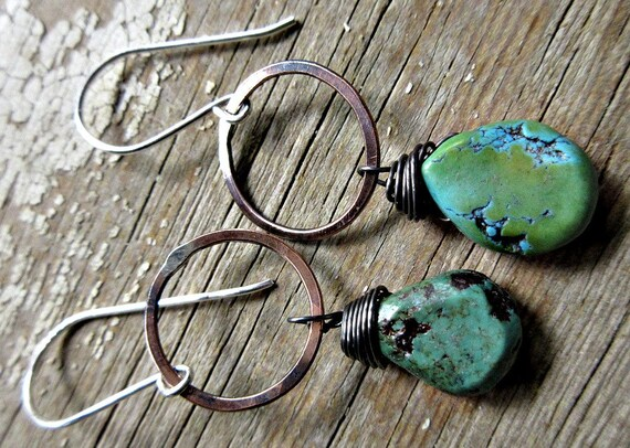 Rustic copper dainty hoop earrings with wire wrapped matrix teardrop turquoise stones, artisan made, Weathered Soul, rustic, cowgirl, urban