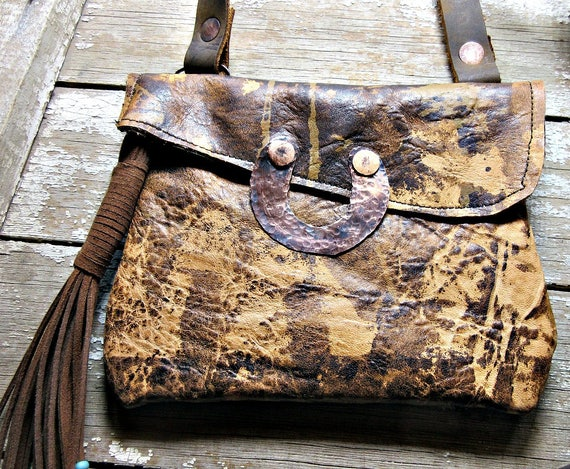 Weathered Soul quality distressed leather cross body bag with fringed tassell and turquoise beads with copper hammered horseshoe lift front