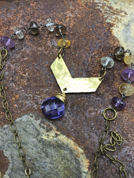 Gorgeous jeweled chevron necklace with amethyst and quartz, hammered bronze. lays on the neck beautifully, Weathered Soul artisan made USA
