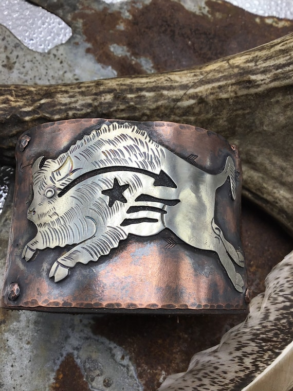 Incredible OOAK buffalo cuff by Weathered Soul jewelry, artisan recycled 1940's rare buffalo brooch up cycled on rustic copper and leather