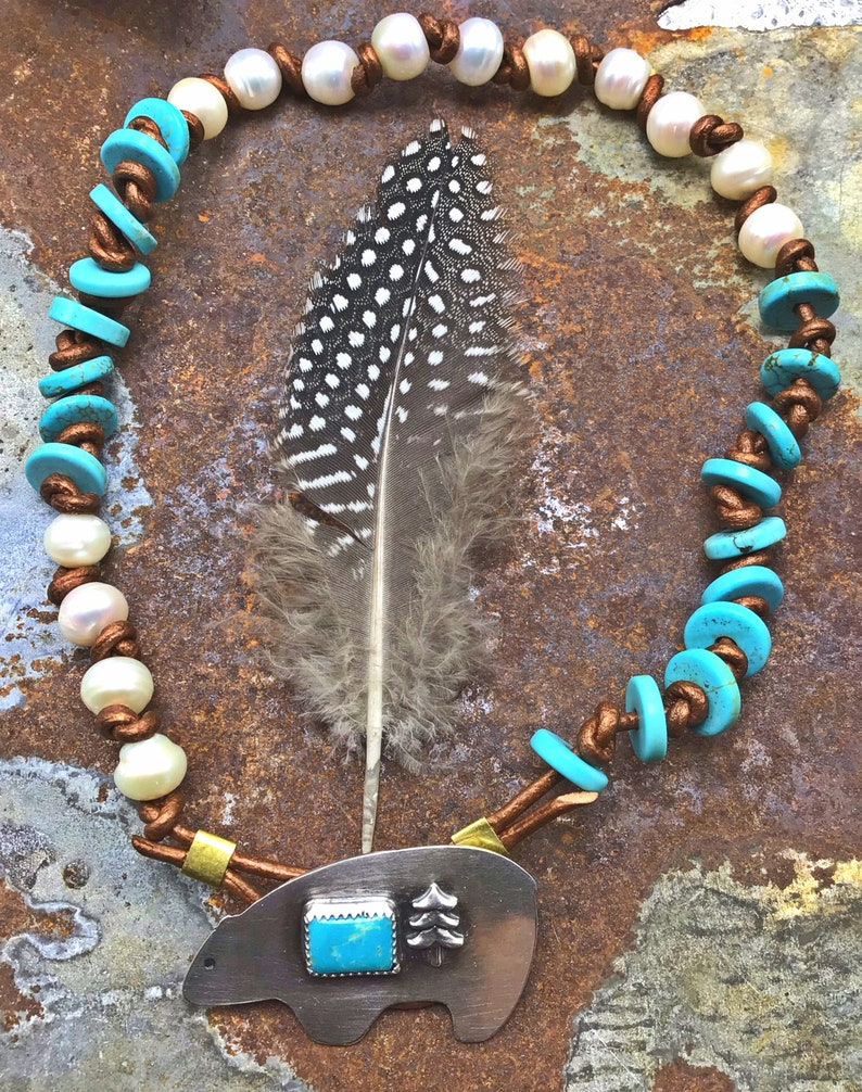 Native art inspired USA cowgirl chic button closure,artisan made pearls Zuni bear turquoise wrap bracelet or choker necklace,leather