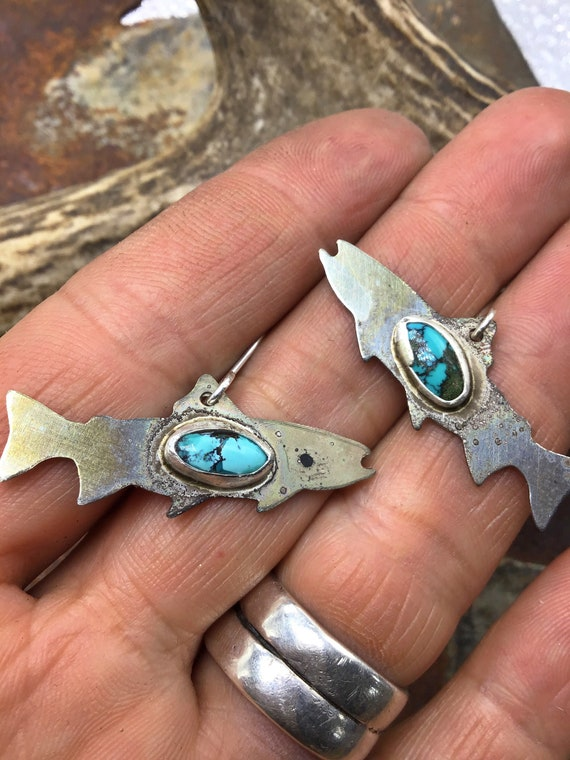 Salmon in the stream earrings by Weathered Soul jewelry, nickel silver rustic earrings with bezel set turquoise matrix stones,USA