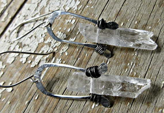 Crystal Arches earrings by Weathered Soul Jewelry, raw quartz, urban chic, crystals, rustic, gypsy, high fashion, artisan, USA made, silver