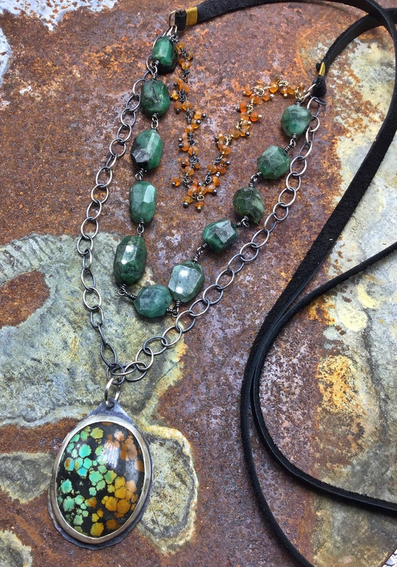 Multi strand wire wrapped custom chain with emerald, carnelian, and turquoise,soft leather by Weathered Soul Jewelry