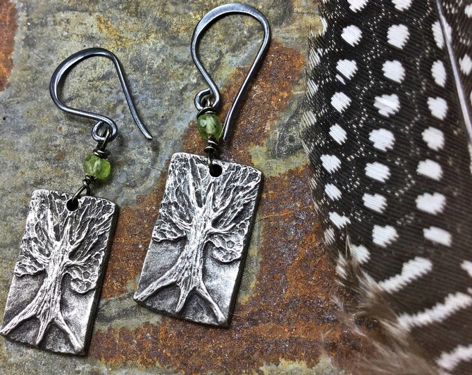 Deeply Rooted dainty sweet oxidized trees with a touch of Peridot, nature lovers petite at its finest, sterling ear wires
