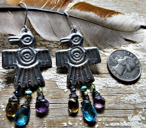 Jeweled Thunderbird earrings by Weathered Soul Jewelry, artisan made, bird lover, southwest, Native American, topaz, citrine, amethyst, USA