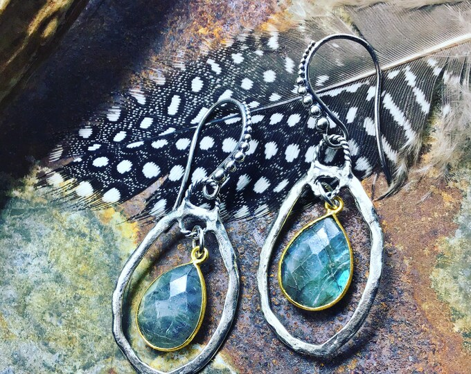 Beautiful Sundance style oval rustic hoops with sterling bronze and labradorite, classic, urban chic with a minimalist style