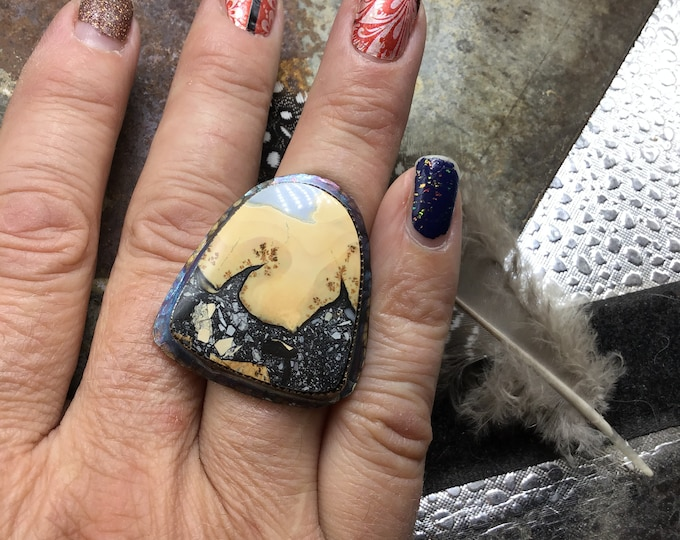 Whoville looking Jasper statement ring by Weathered Soul, fall jewelry, rustic in nature, modern bohemian
