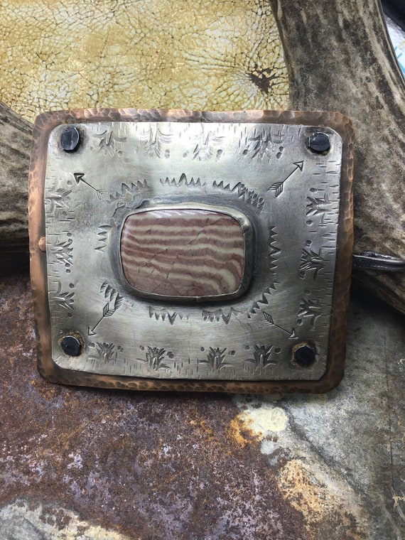 Artisan petrified wood crafted belt buckle by Weathered Soul, copper and sterling rustic craftsmanship,OOAK, unisex gift
