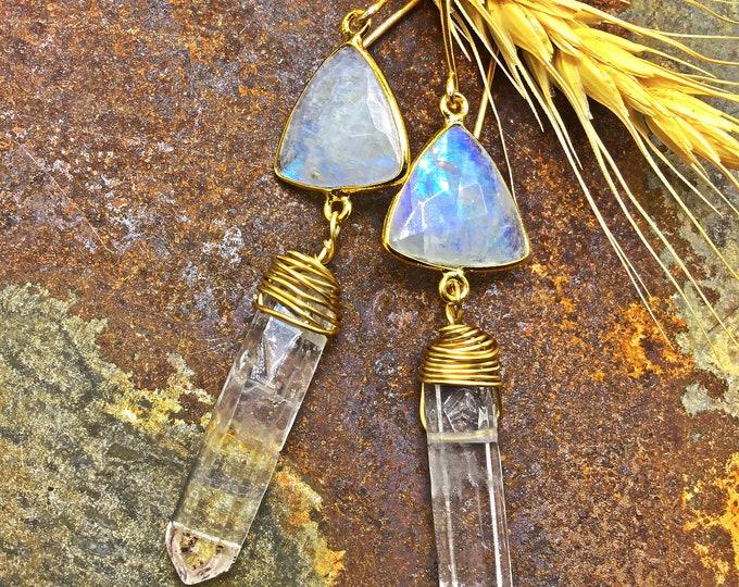 Fun flashy moonstone and raw quartz simplistic design earrings by Weathered Soul, urban chic, basic , minimalist jewelry style