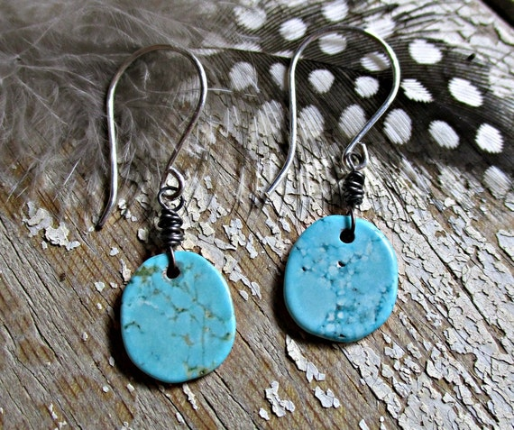 Dainty bits of turquoise dangle by sterling silver ear wires, small, light weight, urban, cowgirl, slab turquoise, urban chic, artisan
