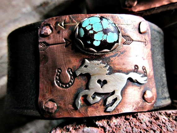 Made to order Running free cuff bracelet by Weathered Soul, horse lover, equestrian, cowgirl, rustic cuff, artisan cuff horse cuff turquoise